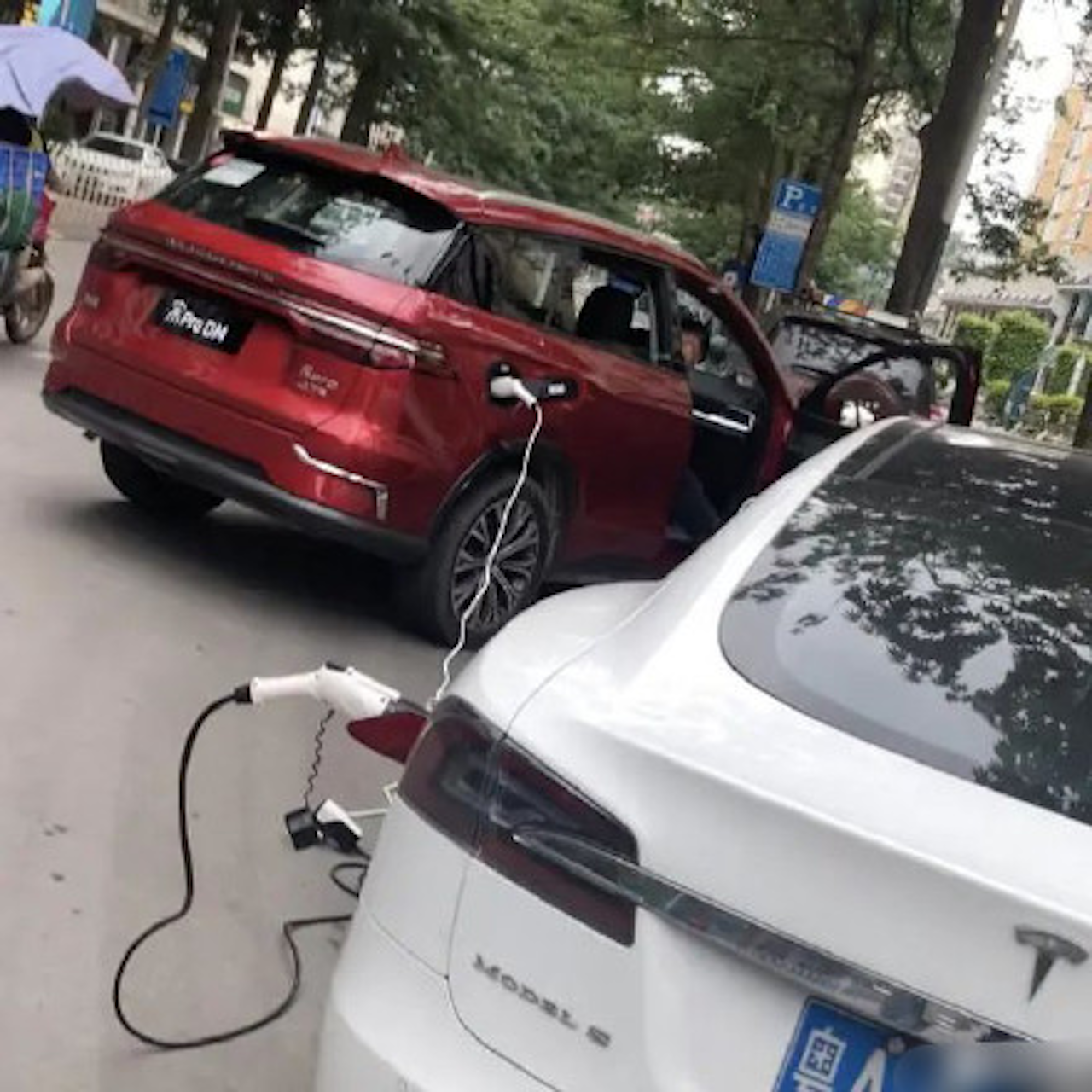 BYD Song charges Teals Model S